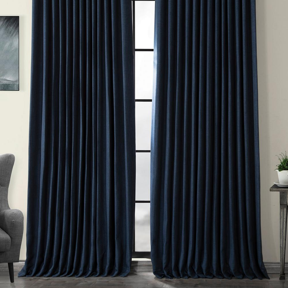 Exclusive Fabrics & Furnishings Indigo Blue Faux Linen Extra Wide Blackout Curtain – 100 In. W X 84 In (View 17 of 20)