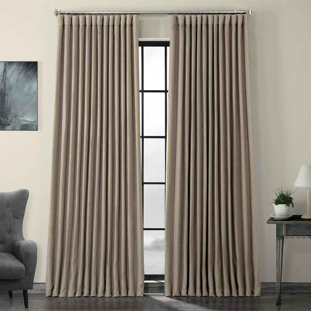 Exclusive Fabrics & Furnishings Mink Gray Faux Linen Extra Wide Blackout Curtain – 100 In. W X 84 In (View 2 of 20)