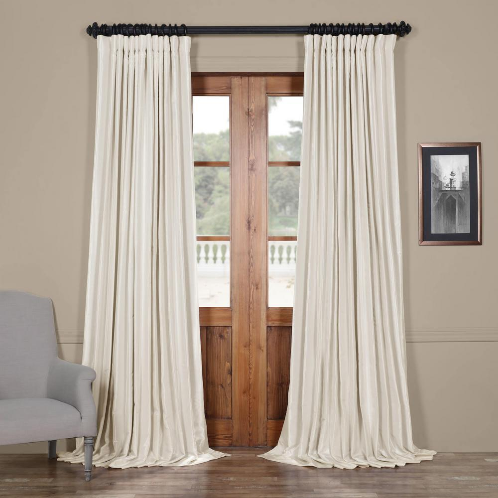 Exclusive Fabrics & Furnishings Off White Blackout Extra Wide Vintage Textured Faux Dupioni Curtain – 100 In. W X 108 In (View 3 of 20)
