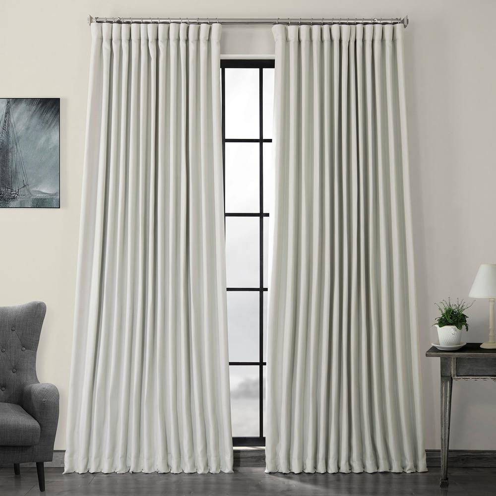 Exclusive Fabrics & Furnishings Oyster White Faux Linen Extra Wide Blackout Curtain – 100 In. W X 96 In (View 3 of 20)