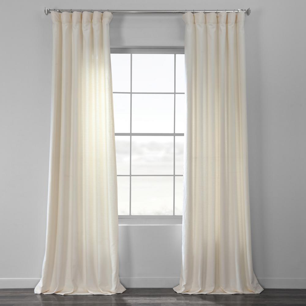 Exclusive Fabrics & Furnishings Pale Bark Weave Solid Cotton Curtain In Ivory – 50 In. W X 96 In (View 4 of 20)