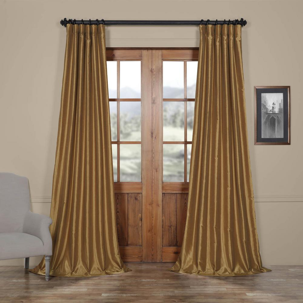 Exclusive Fabrics & Furnishings Semi Opaque Flax Gold Vintage Textured Faux Dupioni Silk Curtain – 50 In. W X 84 In (View 3 of 30)