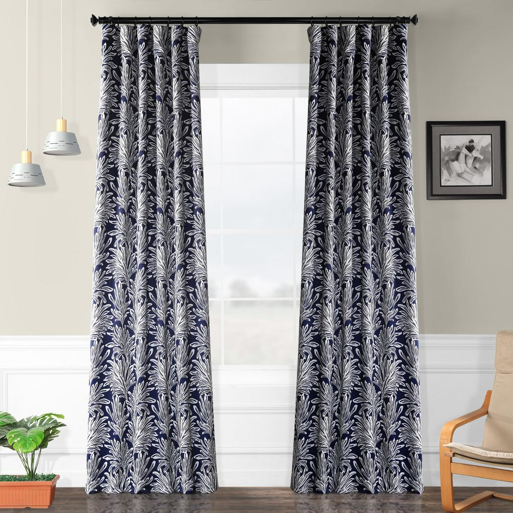 Exclusive Fabrics & Furnishings Semi Opaque Flora Navy Blackout Curtain –  50 In. W X 96 In (Image 7 of 22)