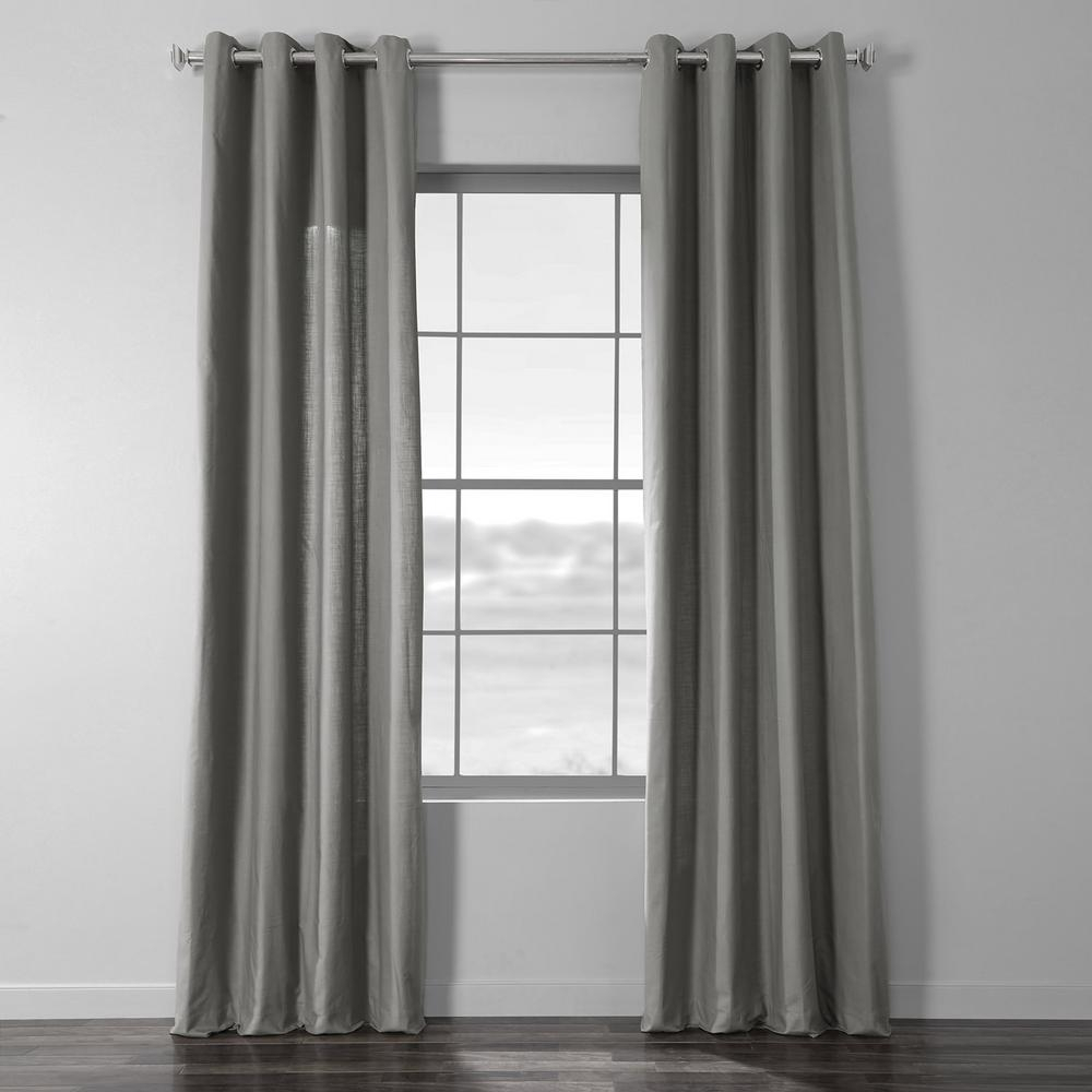 Exclusive Fabrics & Furnishings Shadow Grey Solid Country Cotton Linen Weave Grommet Curtain – 50 In. W X 108 In (View 8 of 30)