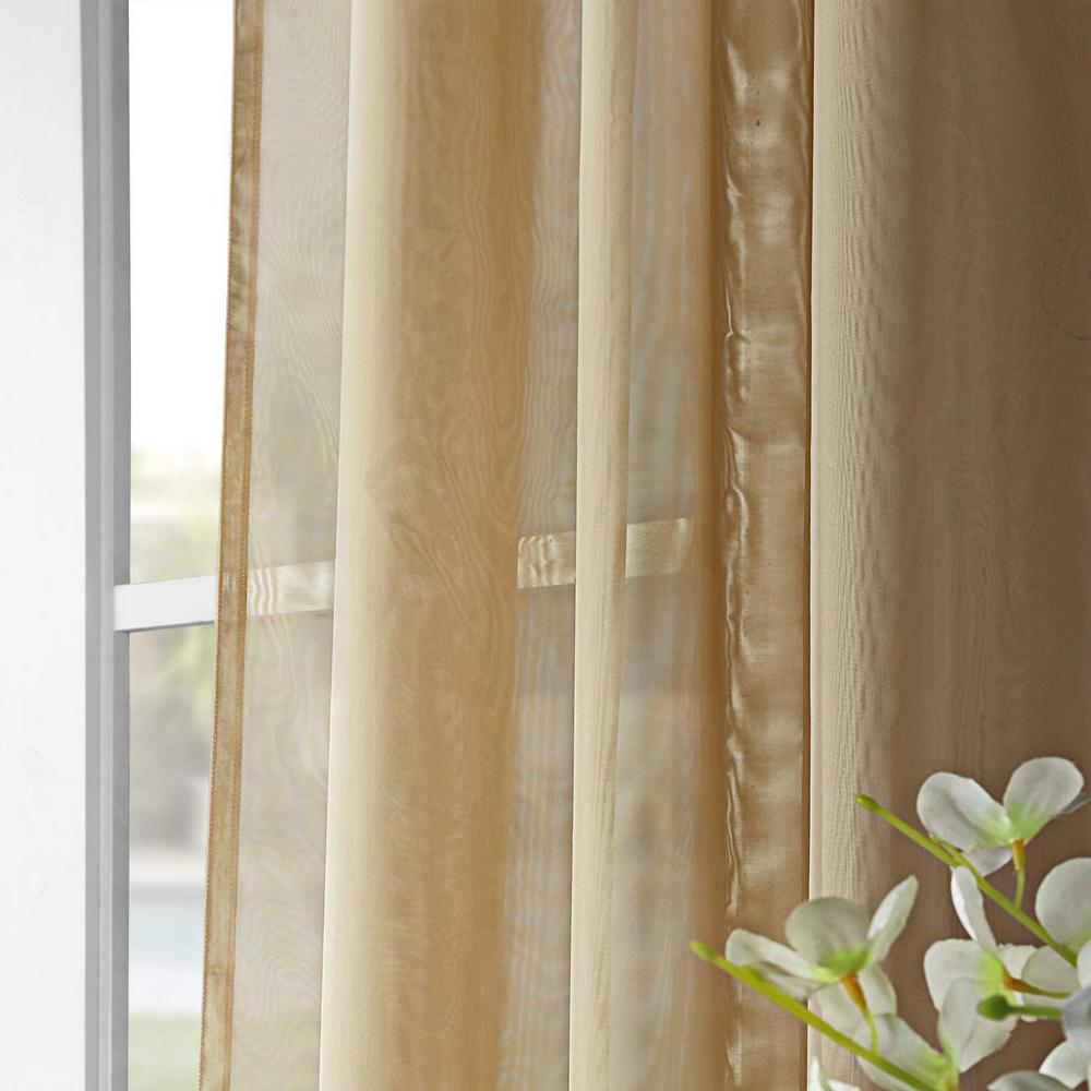 Exclusive Fabrics & Furnishings Signature Double Wide Soft Tan Sheer Curtain – 100 In. W X 96 In (View 1 of 11)