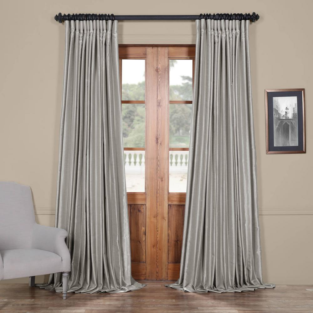Exclusive Fabrics & Furnishings Silver Blackout Extra Wide Vintage Textured Faux Dupioni Curtain – 100 In. W X 108 In (View 9 of 30)