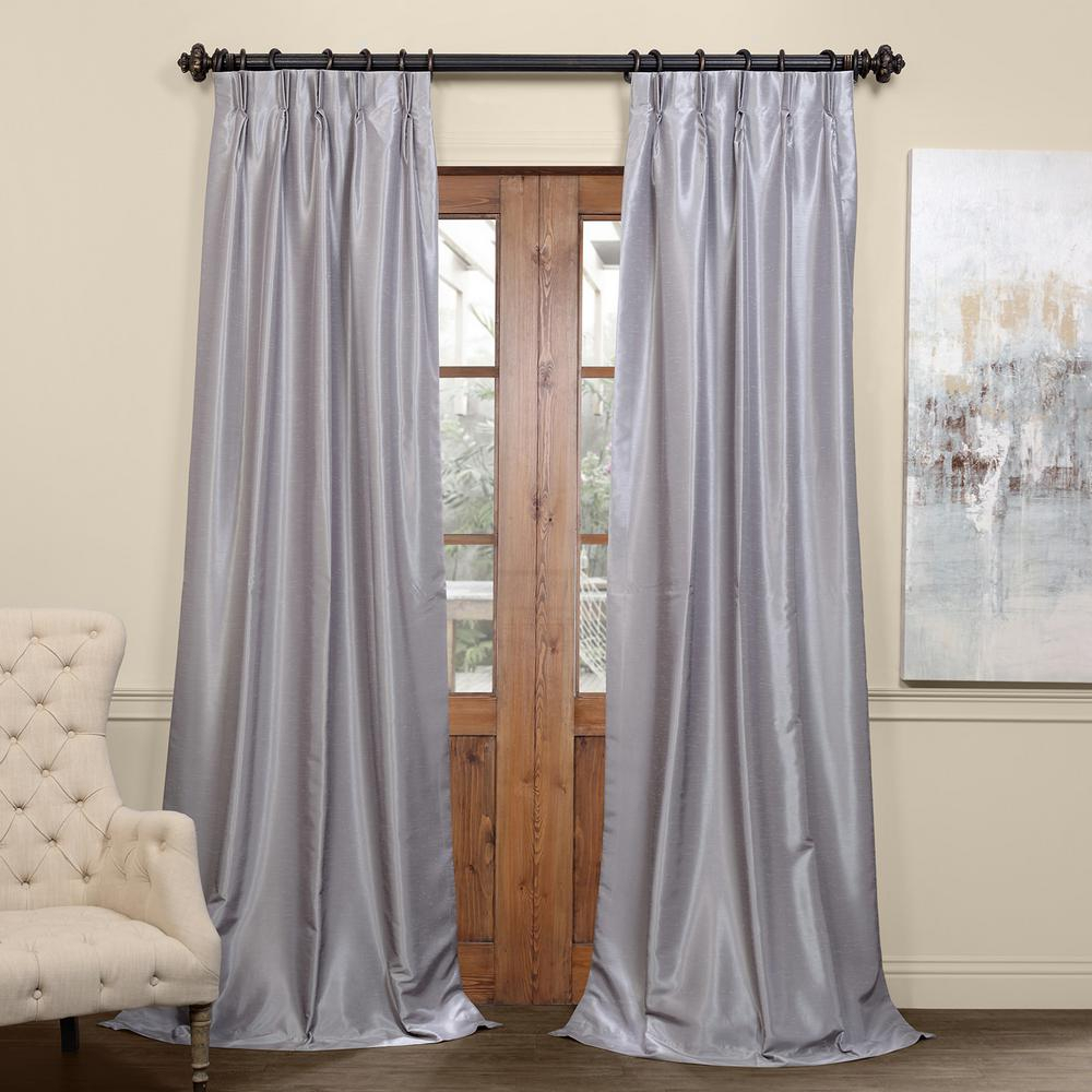 Exclusive Fabrics & Furnishings Silver Blackout Vintage Textured Faux Dupioni Pleated Curtain – 25 In. W X 84 In (View 17 of 20)