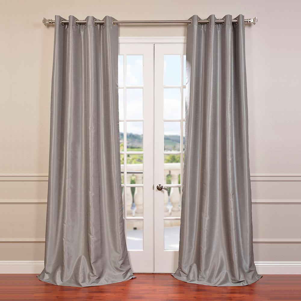 Exclusive Fabrics & Furnishings Silver Grommet Blackout In Storm Grey Vintage Faux Textured Dupioni Single Silk Curtain Panels (View 7 of 30)