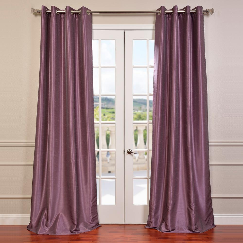 Exclusive Fabrics & Furnishings Smokey Plum Purple Grommet Blackout Vintage Textured Faux Dupioni Silk Curtain – 50 In. W X 84 In (View 10 of 30)