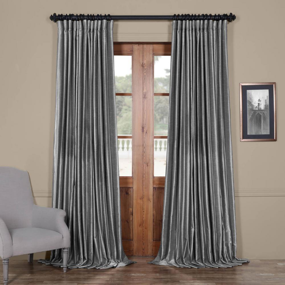 Exclusive Fabrics & Furnishings Storm Grey Gray Blackout Extra Wide Vintage Textured Faux Dupioni Curtain – 100 In. W X 108 In (View 8 of 30)