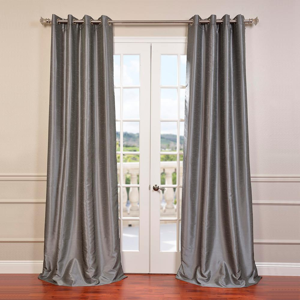 Exclusive Fabrics & Furnishings Storm Grey Gray Grommet Blackout Vintage Textured Faux Dupioni Silk Curtain – 50 In. W X 84 In (View 9 of 30)