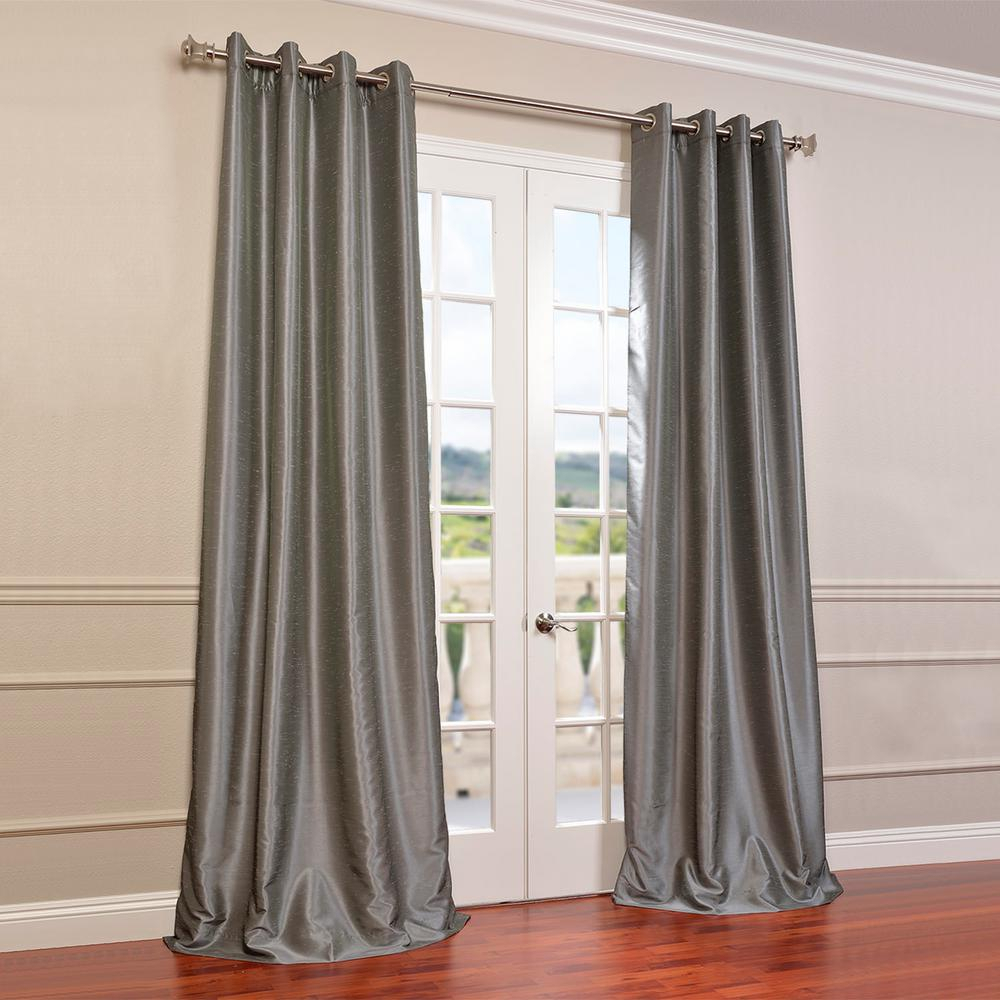 Exclusive Fabrics & Furnishings Storm Grey Gray Grommet Blackout Vintage Textured Faux Dupioni Silk Curtain – 50 In. W X 96 In (View 9 of 30)