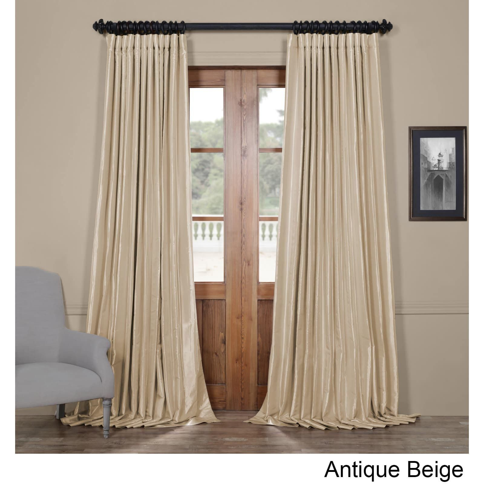 Exclusive Fabrics Glazed Parchment Blackout Extra Wide Faux Intended For Faux Silk Extra Wide Blackout Single Curtain Panels (View 6 of 20)