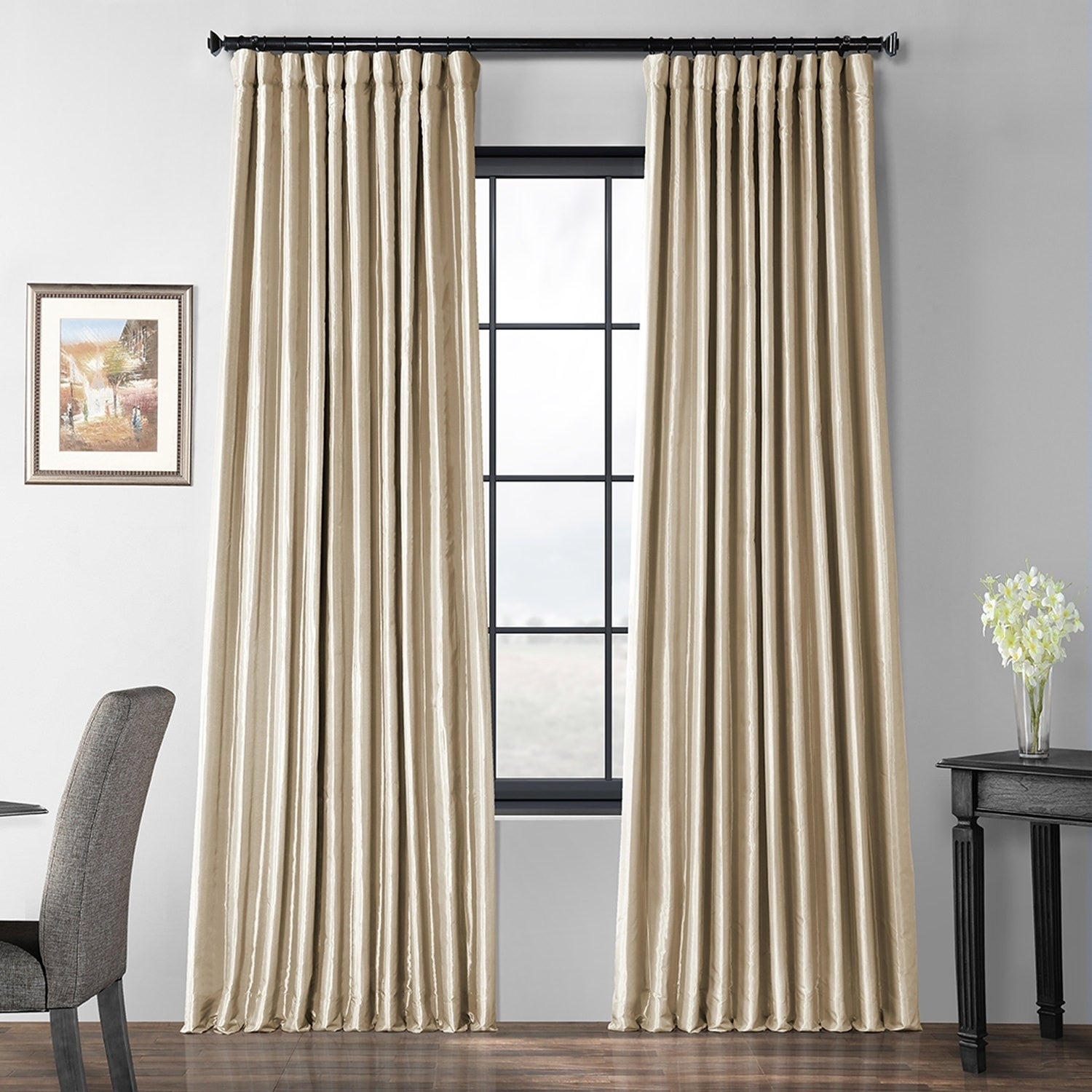 Exclusive Fabrics Glazed Parchment Blackout Extra Wide Faux Silk Taffeta Curtain Intended For Faux Linen Extra Wide Blackout Curtains (View 18 of 20)