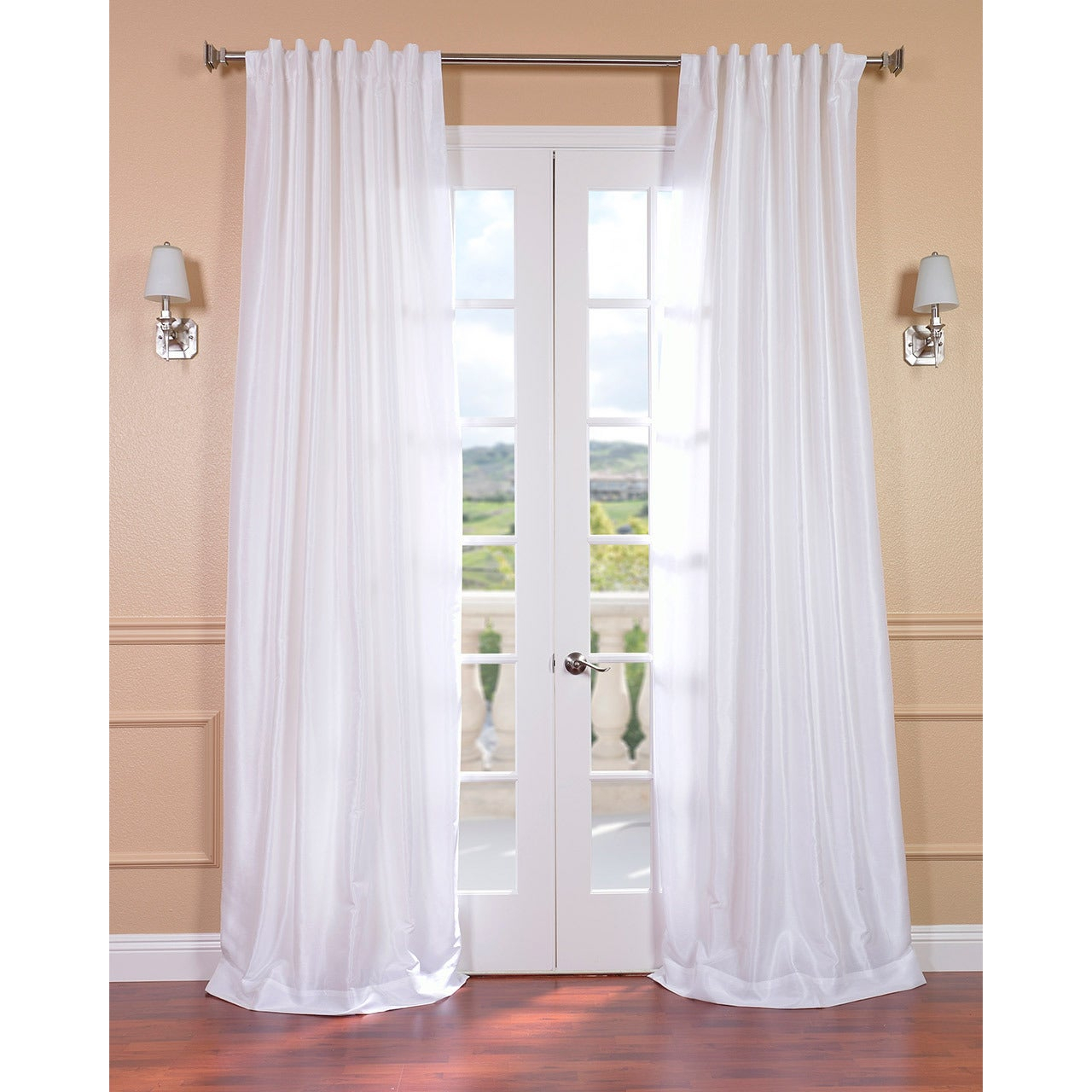 Exclusive Fabrics Ice White Vintage Faux Textured Dupioni Silk Curtain Panel 108 Inch (As Is Item) With Ice White Vintage Faux Textured Silk Curtain Panels (View 10 of 20)