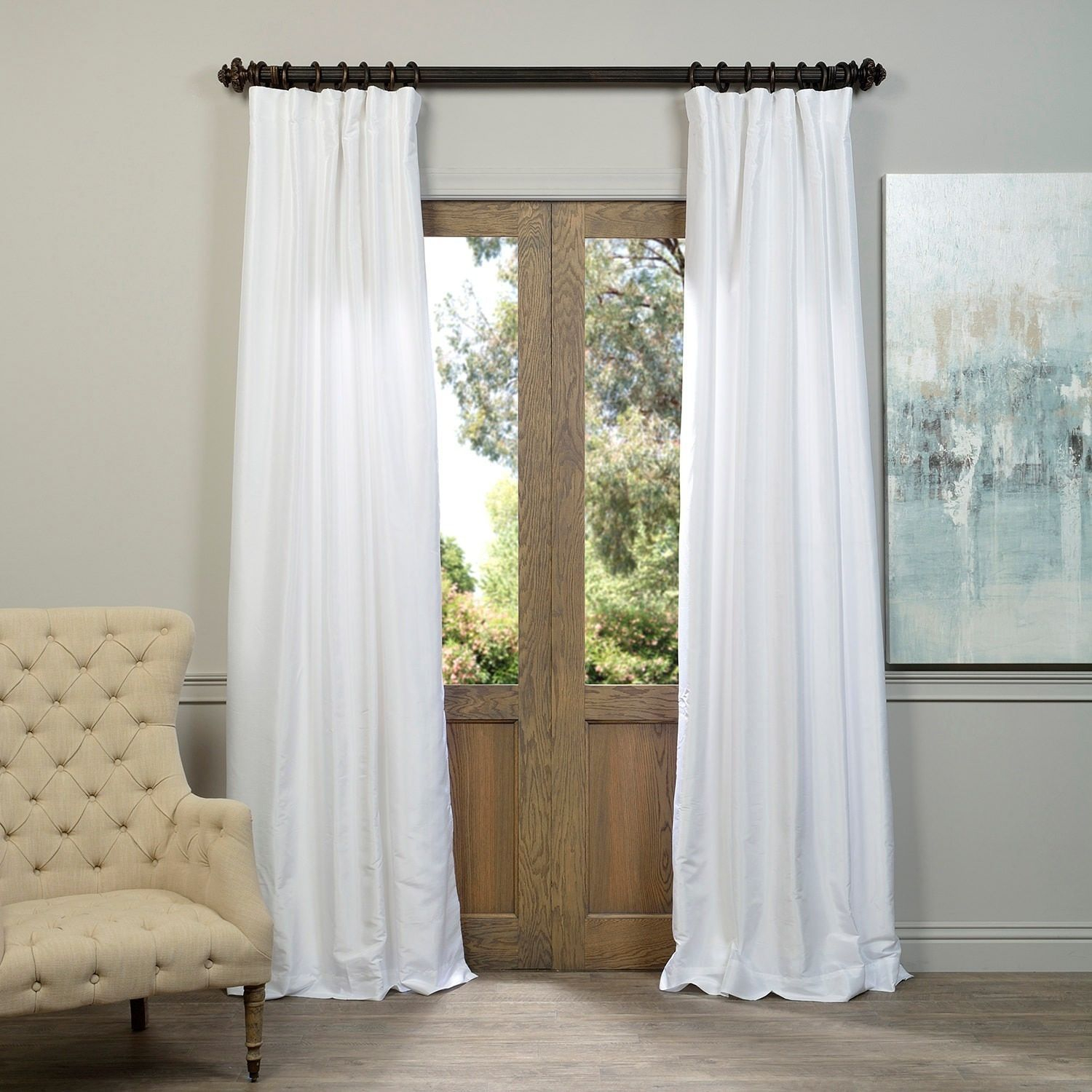 Exclusive Fabrics Ice White Vintage Faux Textured Dupioni With Regard To Ice White Vintage Faux Textured Silk Curtain Panels (View 11 of 20)