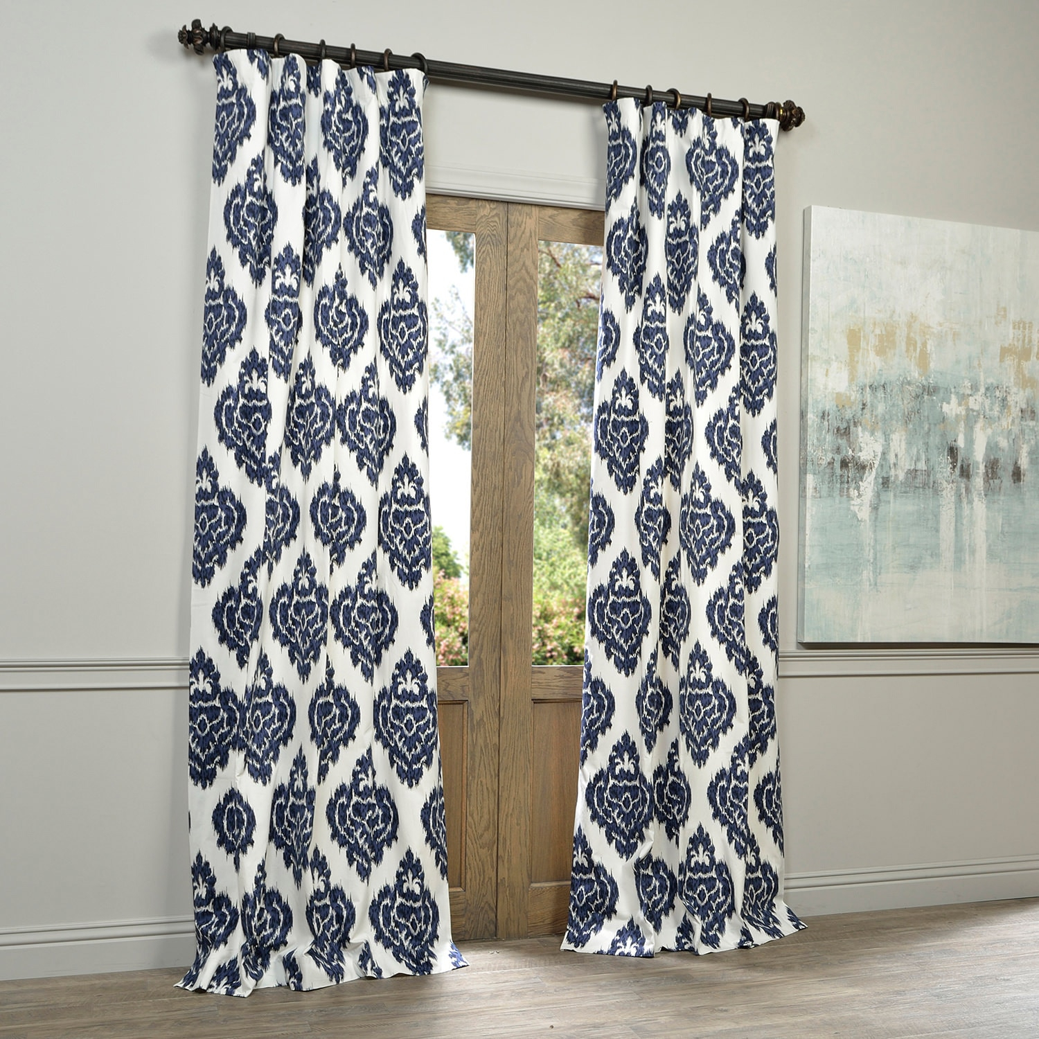 Exclusive Fabrics Ikat Blue Printed Cotton Curtain Panel In Ikat Blue Printed Cotton Curtain Panels (View 6 of 20)