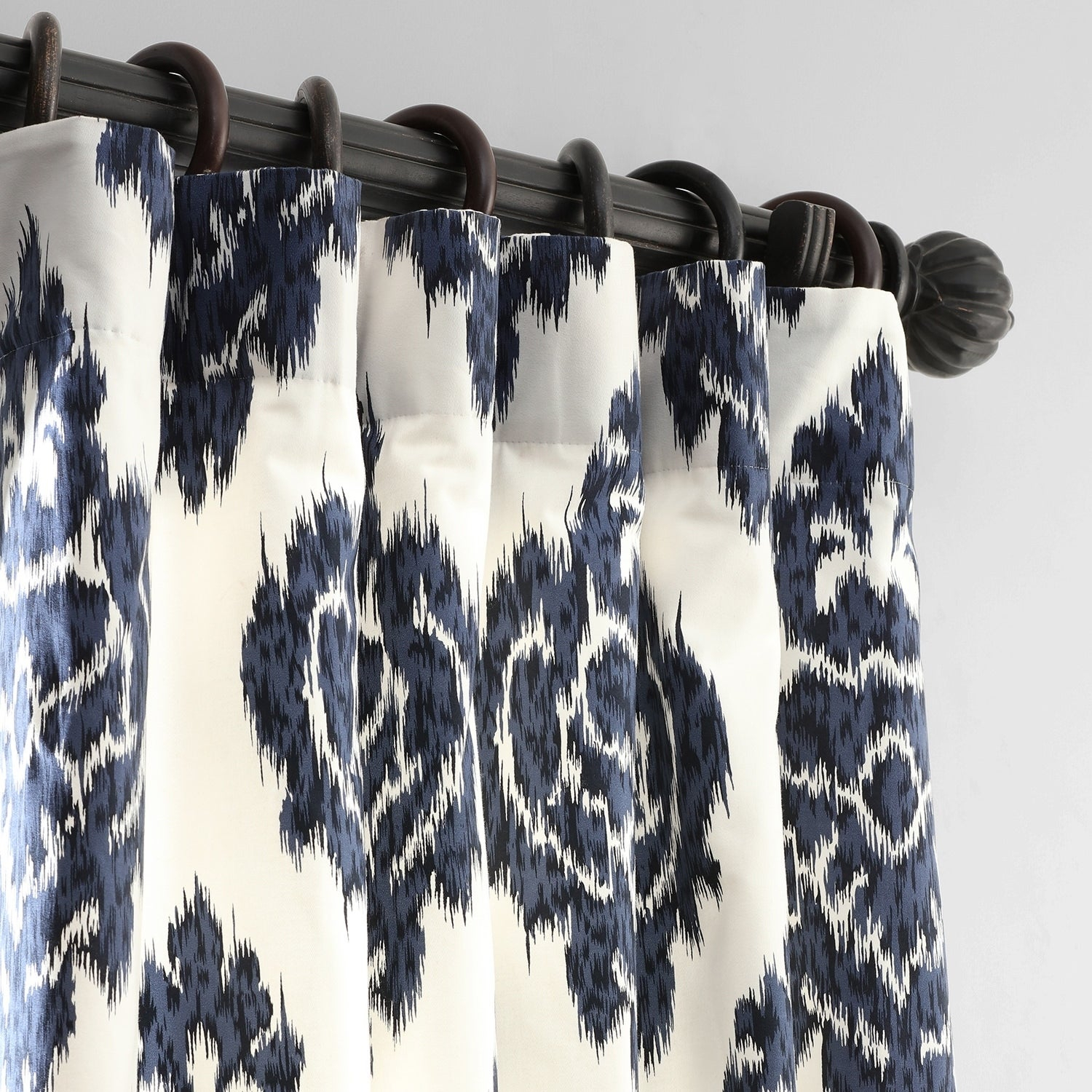 Exclusive Fabrics Ikat Blue Printed Cotton Curtain Panel In Ikat Blue Printed Cotton Curtain Panels (View 7 of 20)