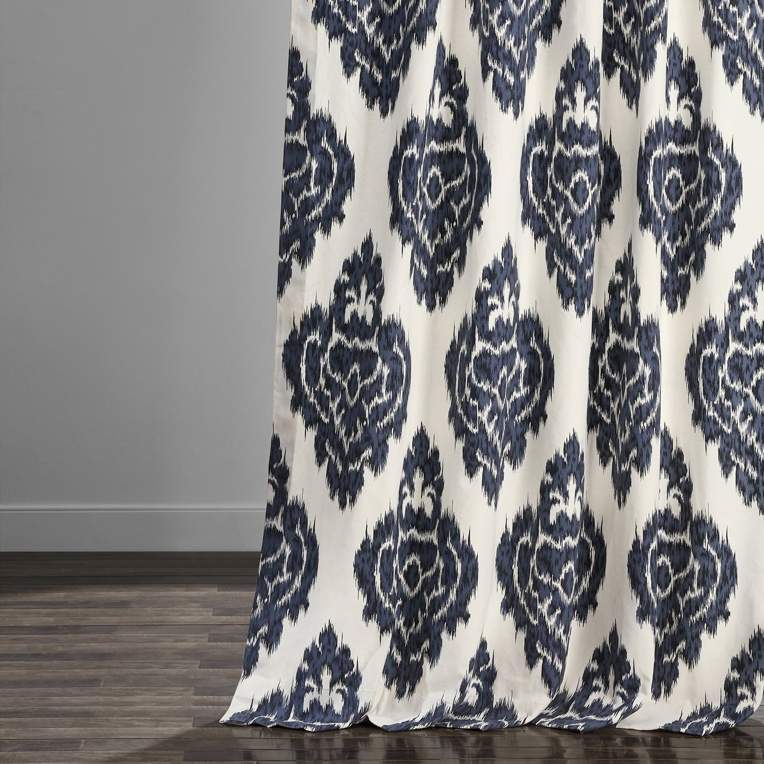 Exclusive Fabrics Ikat Blue Printed Cotton Curtain Panel Inside Ikat Blue Printed Cotton Curtain Panels (View 8 of 20)