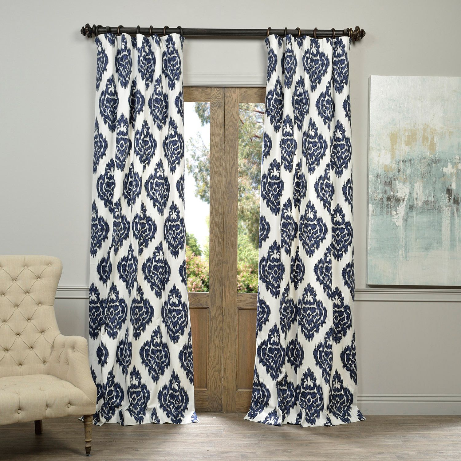 Popular Photo of Ikat Blue Printed Cotton Curtain Panels