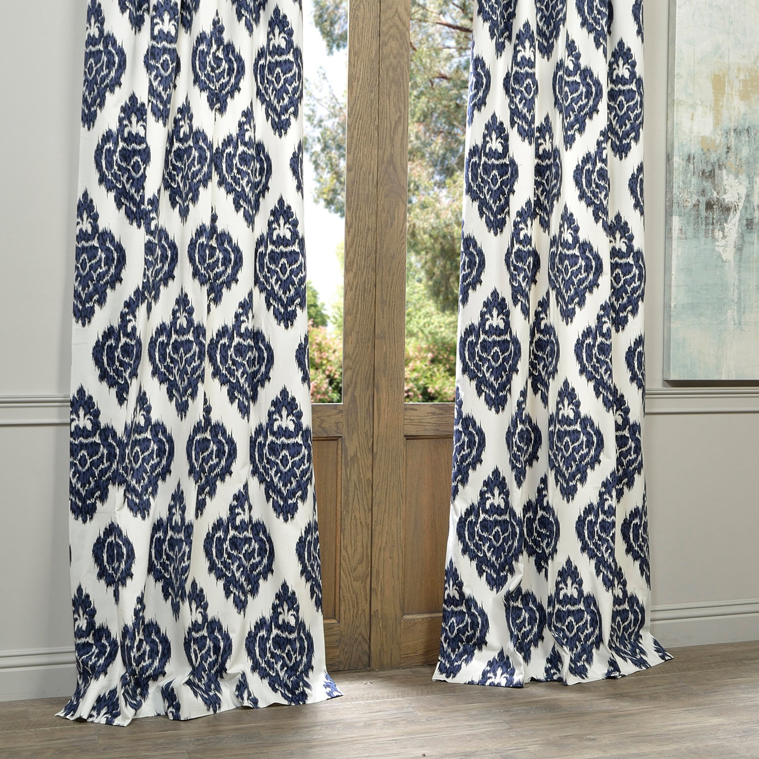 Exclusive Fabrics Ikat Blue Printed Cotton Curtain Panel With Ikat Blue Printed Cotton Curtain Panels (View 10 of 20)