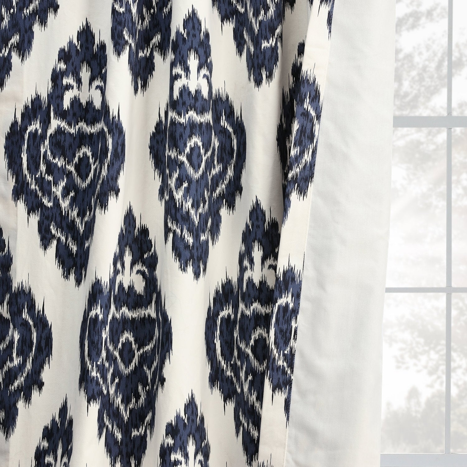 Exclusive Fabrics Ikat Blue Printed Cotton Curtain Panel With Ikat Blue Printed Cotton Curtain Panels (View 11 of 20)