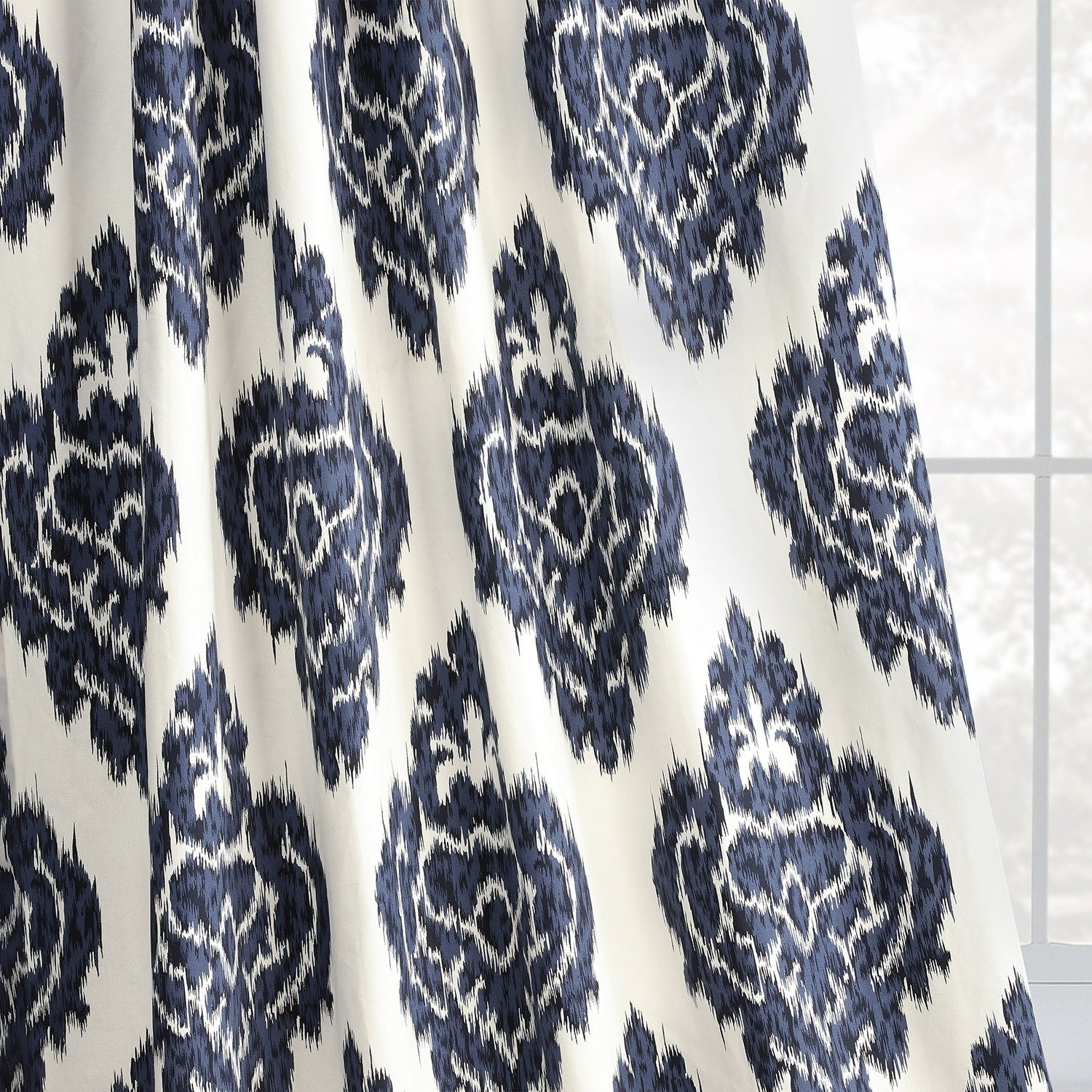Exclusive Fabrics Ikat Blue Printed Cotton Curtain Panel With Regard To Ikat Blue Printed Cotton Curtain Panels (View 13 of 20)