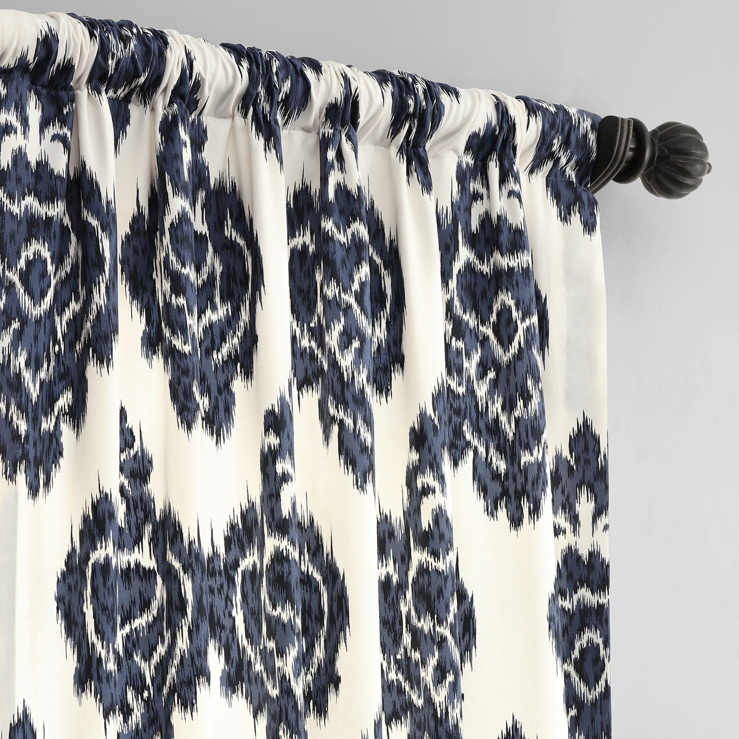 Exclusive Fabrics Ikat Blue Printed Cotton Curtain Panel Within Ikat Blue Printed Cotton Curtain Panels (View 14 of 20)