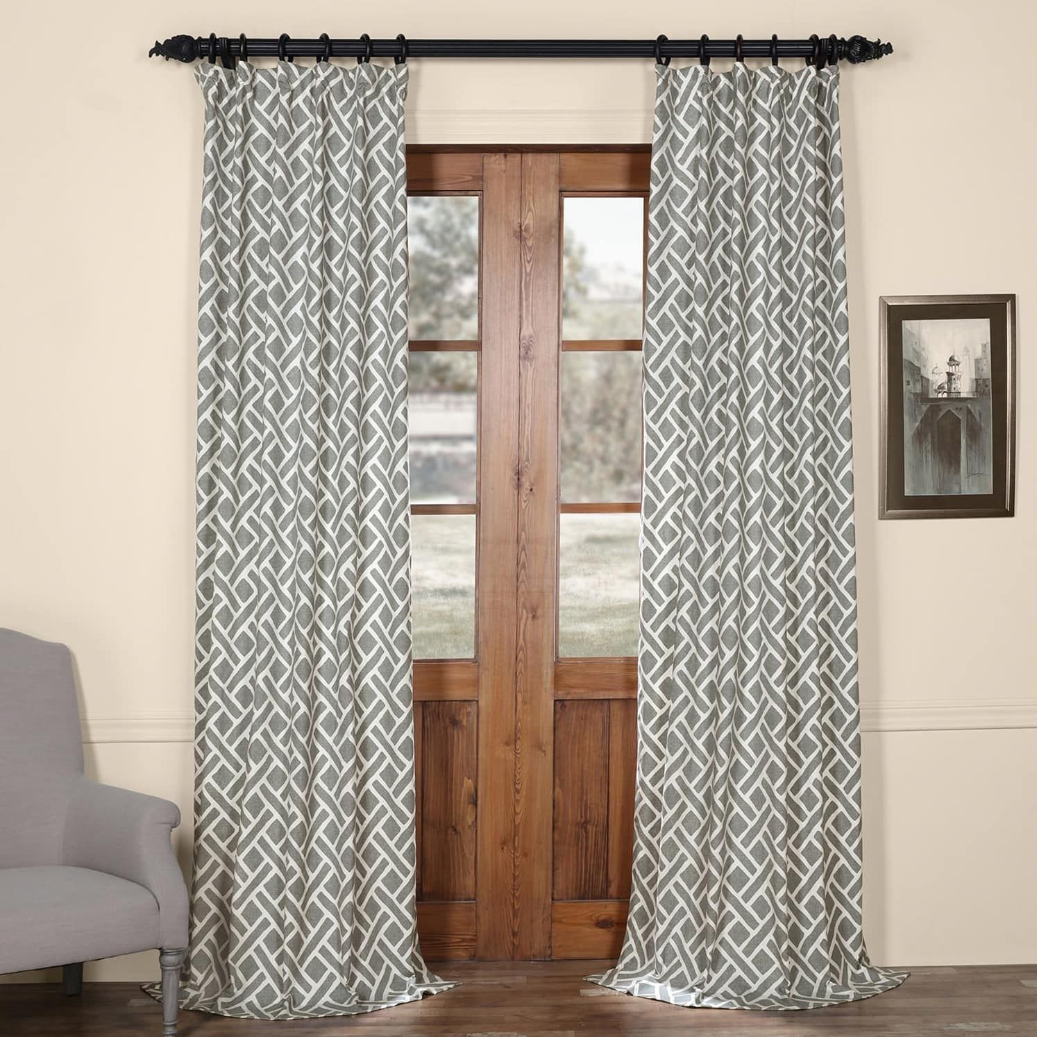 Exclusive Fabrics Martinique Geometric Pattern Cotton Throughout Sarong Grey Printed Cotton Pole Pocket Single Curtain Panels (View 5 of 20)