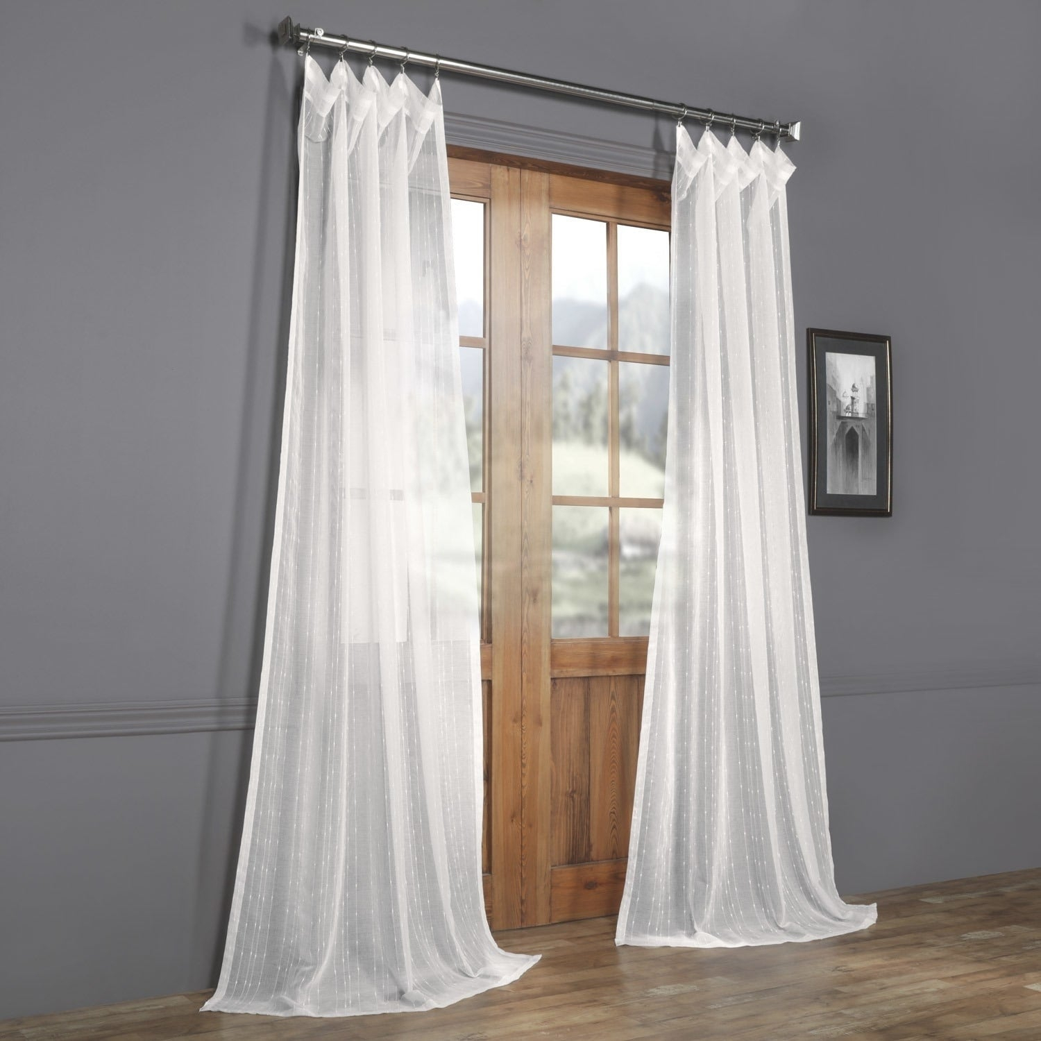 Exclusive Fabrics Montpellier Striped Linen Sheer Curtain Inside Montpellier Striped Linen Sheer Curtains (View 2 of 20)