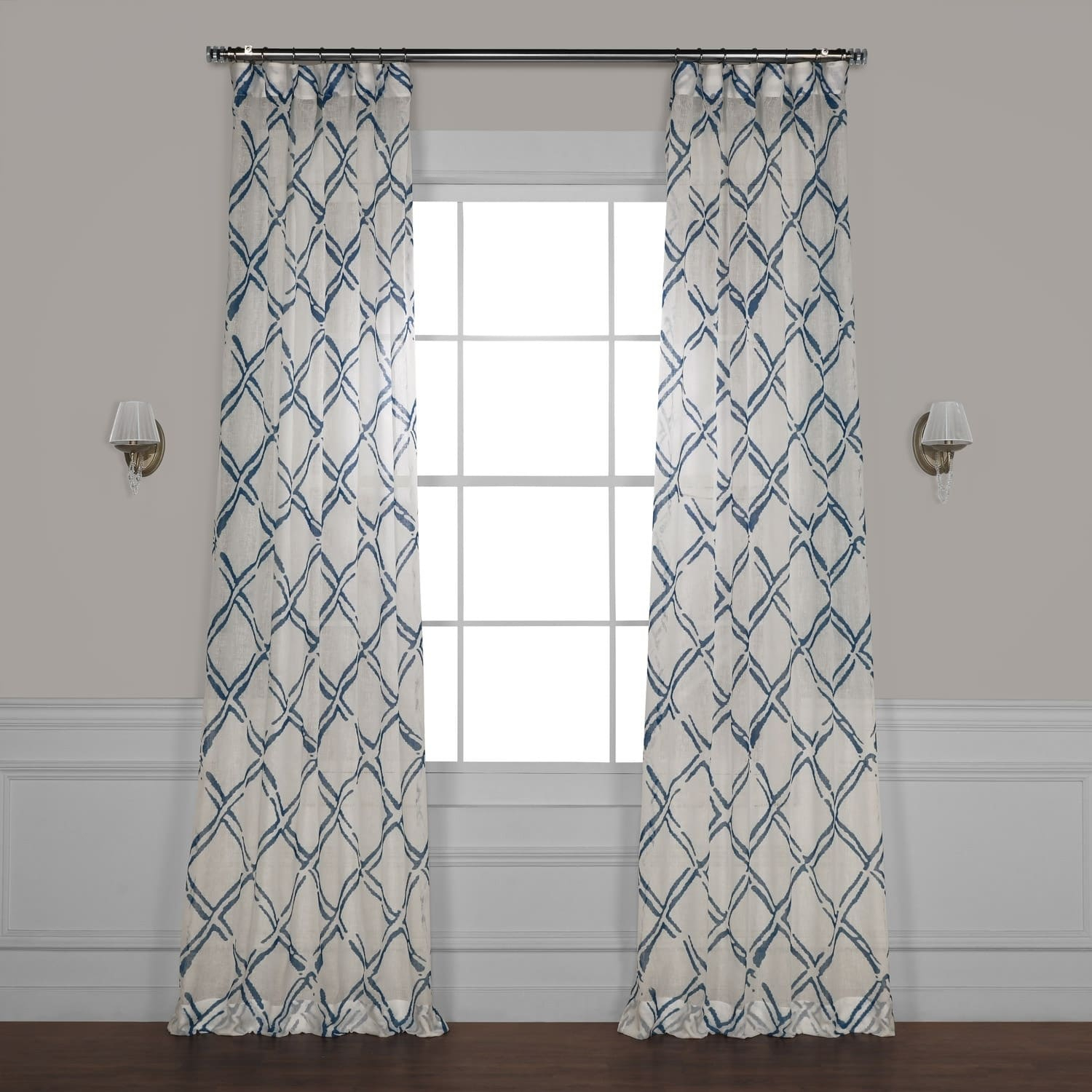 Exclusive Fabrics Normandy Grey Printed Sheer Curtain Panel Intended For Grey Printed Curtain Panels (View 14 of 20)
