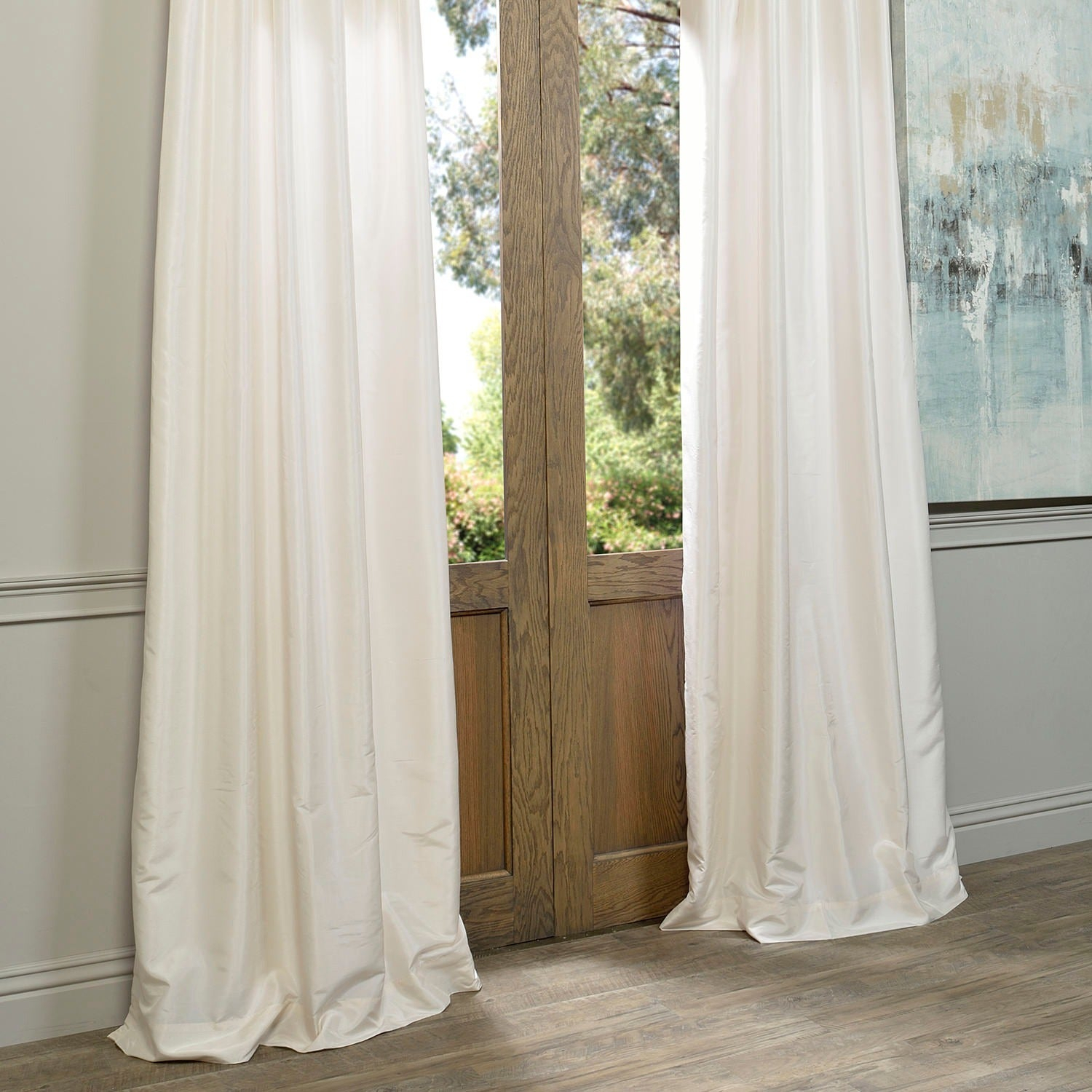 """Exclusive Fabrics Off White Vintage Faux Textured Dupioni Silk Curtain Panel 96""""l (as Is Item) Inside Off White Vintage Faux Textured Silk Curtains (View 18 of 20)"""