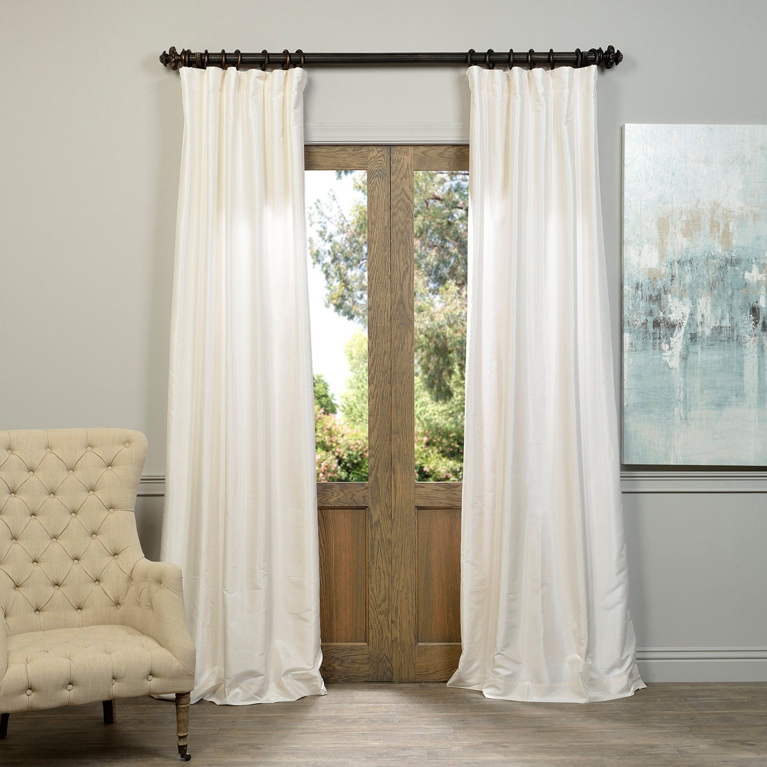 """Exclusive Fabrics Off White Vintage Faux Textured Dupioni Silk Curtain Panel 96""""l (as Is Item) Intended For Vintage Faux Textured Dupioni Silk Curtain Panels (View 5 of 30)"""