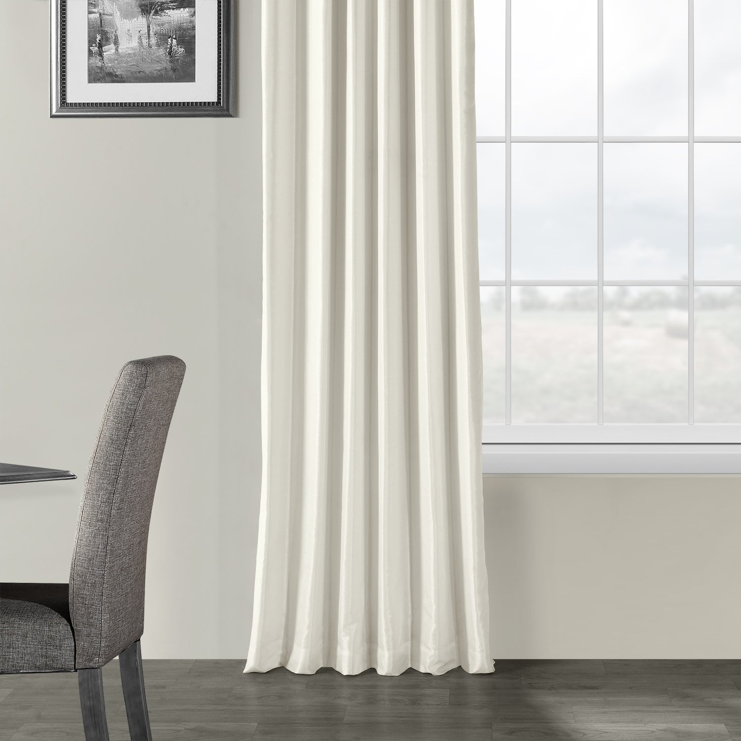 Exclusive Fabrics Off White Vintage Faux Textured Dupioni Silk Curtain Pertaining To Off White Vintage Faux Textured Silk Curtains (View 9 of 20)