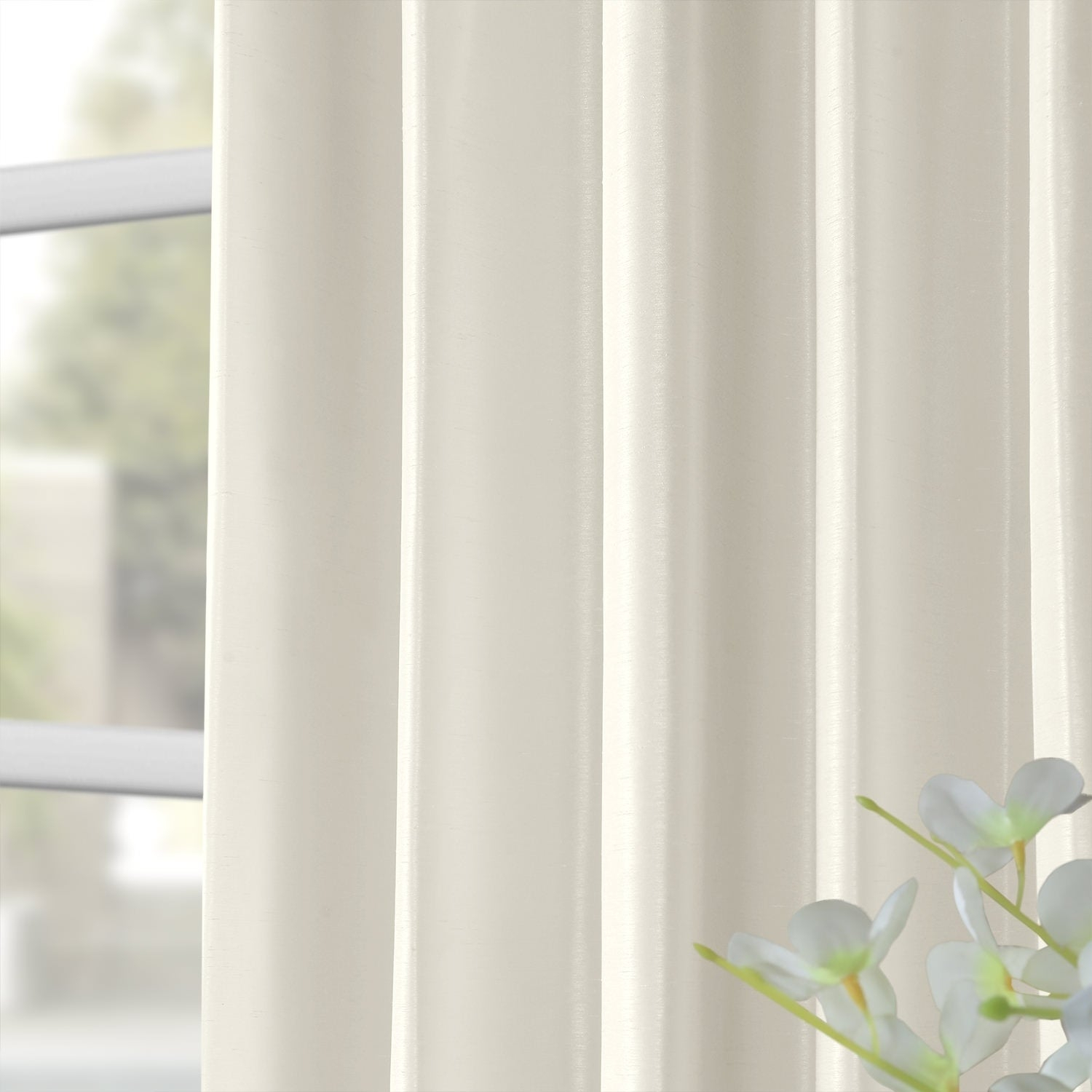 Exclusive Fabrics Off White Vintage Faux Textured Dupioni Silk Curtain With Off White Vintage Faux Textured Silk Curtains (View 14 of 20)
