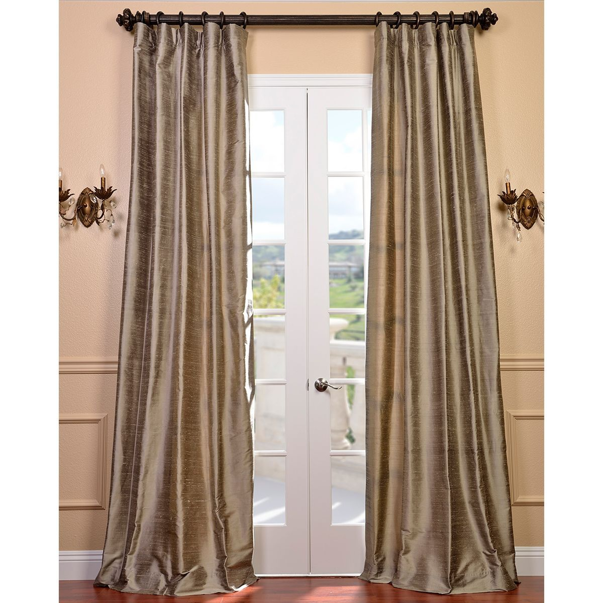 Exclusive Fabrics Signature Cashmere Textured Silk Single With Silver Vintage Faux Textured Silk Curtain Panels (View 11 of 30)