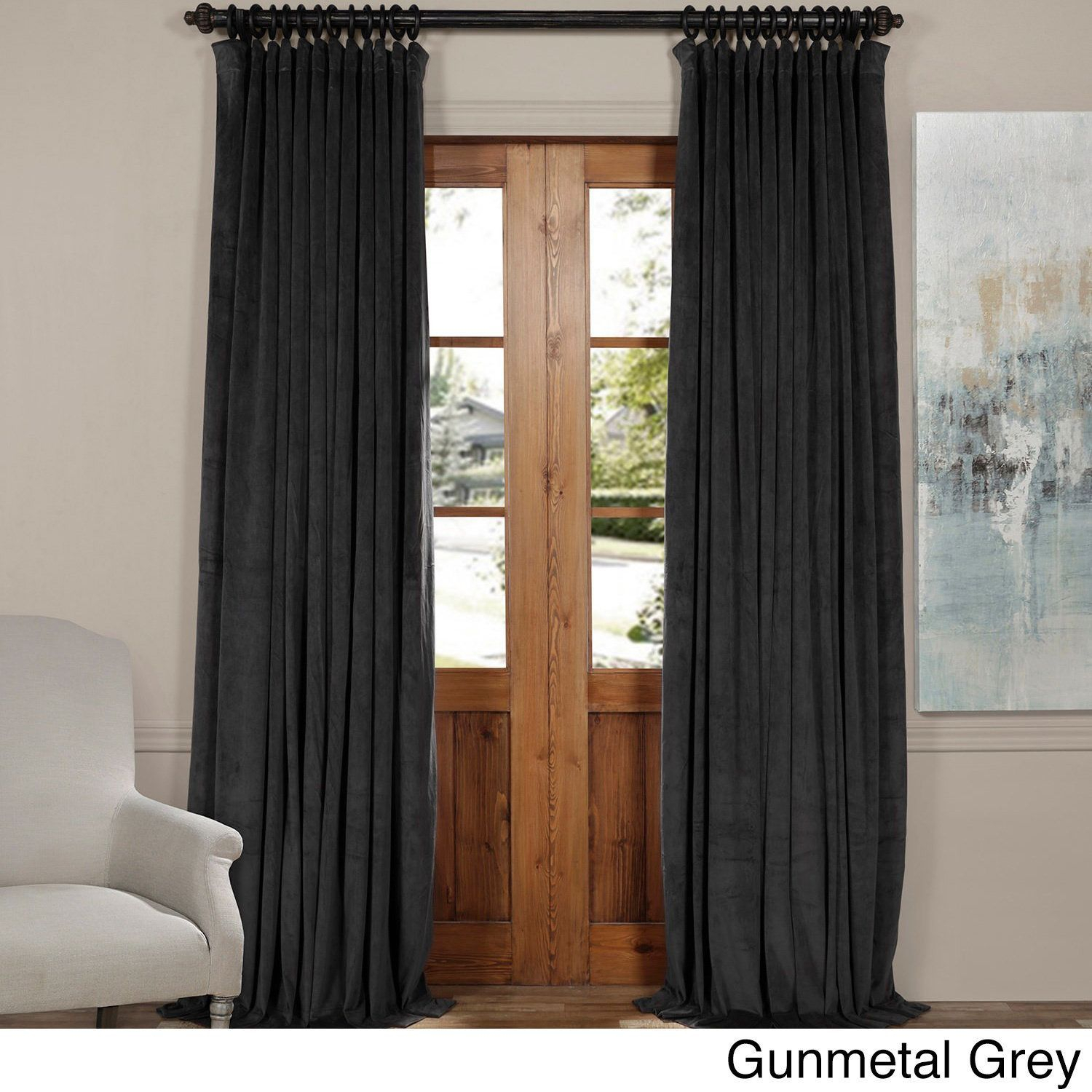 Exclusive Fabrics Signature Doublewide Blackout Velvet For Signature Pinch Pleated Blackout Solid Velvet Curtain Panels (View 11 of 36)
