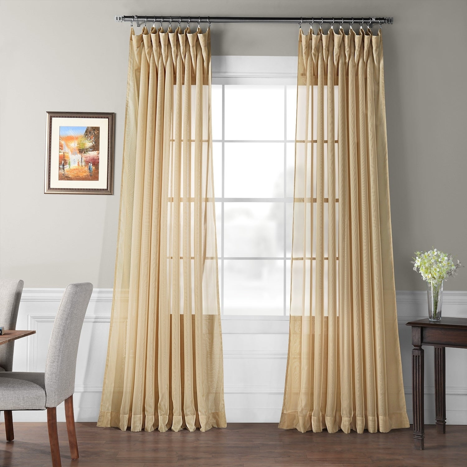 Exclusive Fabrics Signature Extrawide Double Layer Sheer Curtain Panel For Signature White Double Layer Sheer Curtain Panels (View 8 of 30)