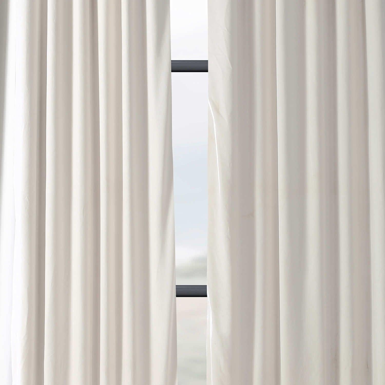 Exclusive Fabrics Signature Ivory Velvet Blackout Single Curtain Panel Inside Signature Ivory Velvet Blackout Single Curtain Panels (View 12 of 34)