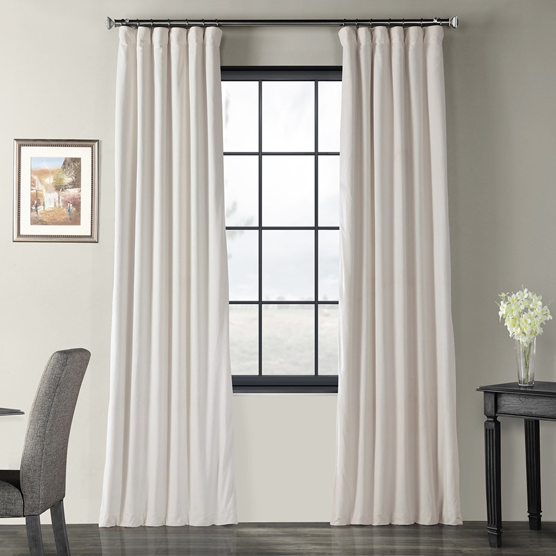Popular Photo of Signature Ivory Velvet Blackout Single Curtain Panels