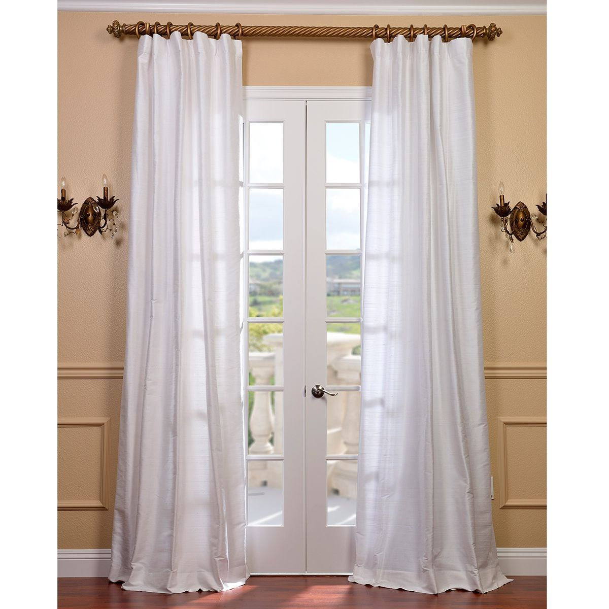 Exclusive Fabrics Signature Lily White Textured Silk Curtain Pertaining To Ice White Vintage Faux Textured Silk Curtain Panels (View 9 of 20)