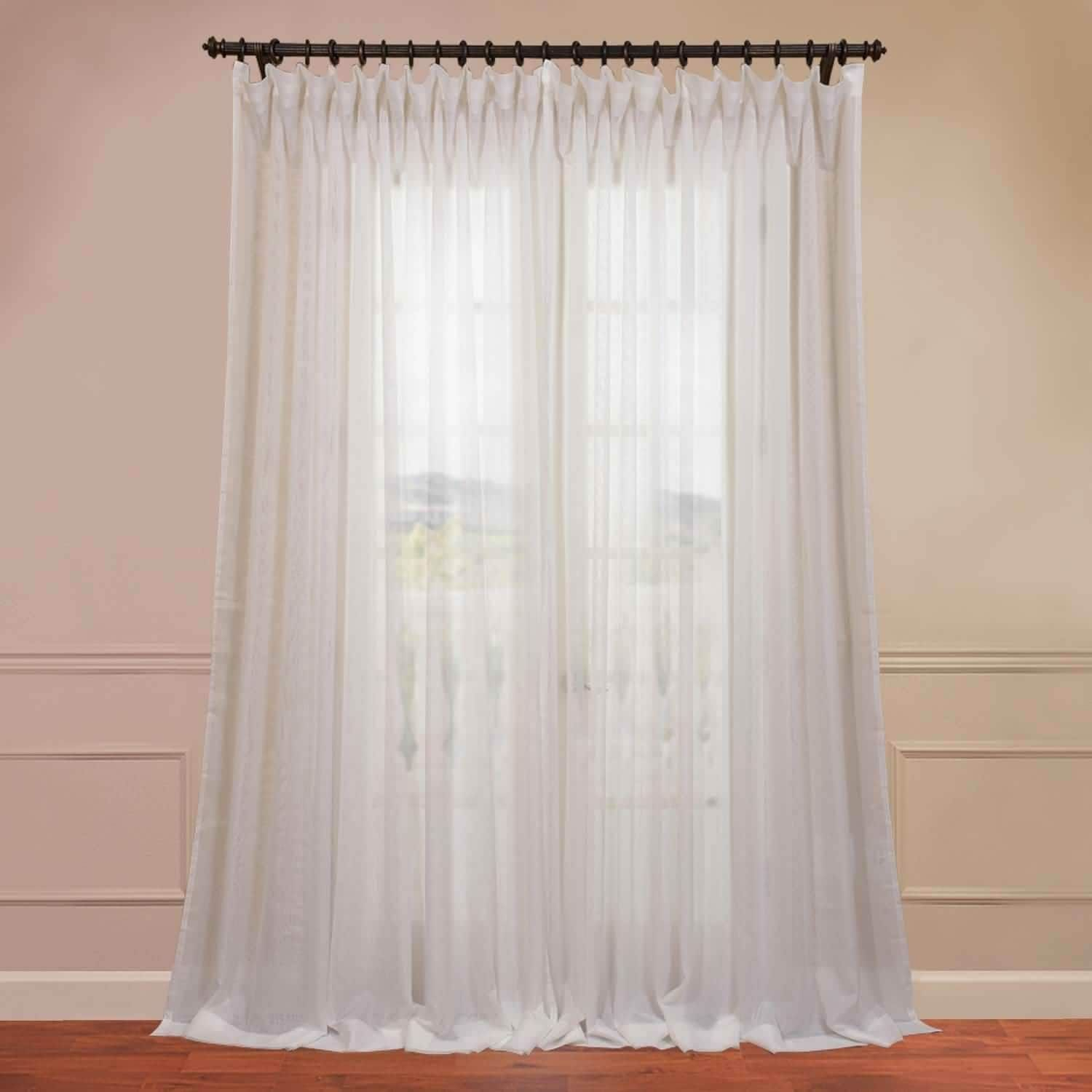 Exclusive Fabrics Signature Off White Extra Wide Double Pertaining To Signature White Double Layer Sheer Curtain Panels (View 5 of 30)