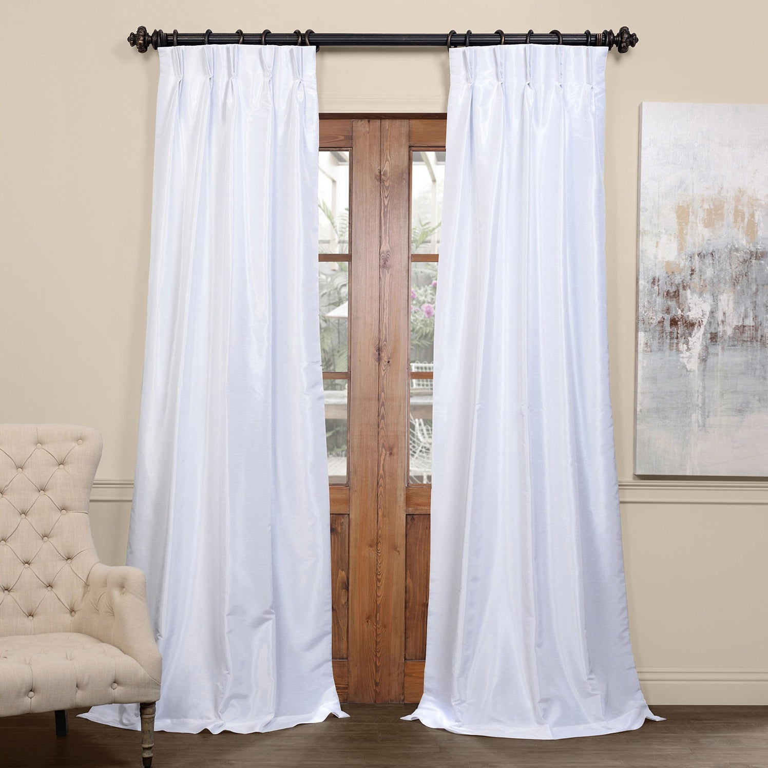 Exclusive Fabrics Signature Pinch Pleated Blackout Solid Faux Silk Curtain Panel With True Blackout Vintage Textured Faux Silk Curtain Panels (View 7 of 30)