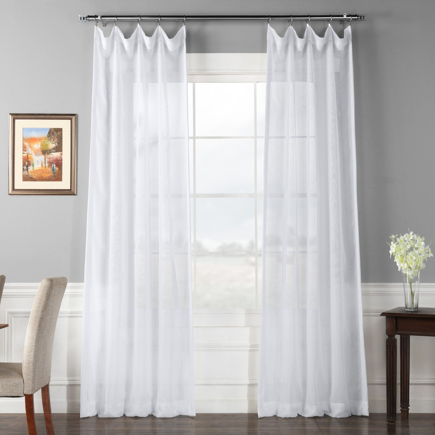 Featured Photo of Signature White Double Layer Sheer Curtain Panels