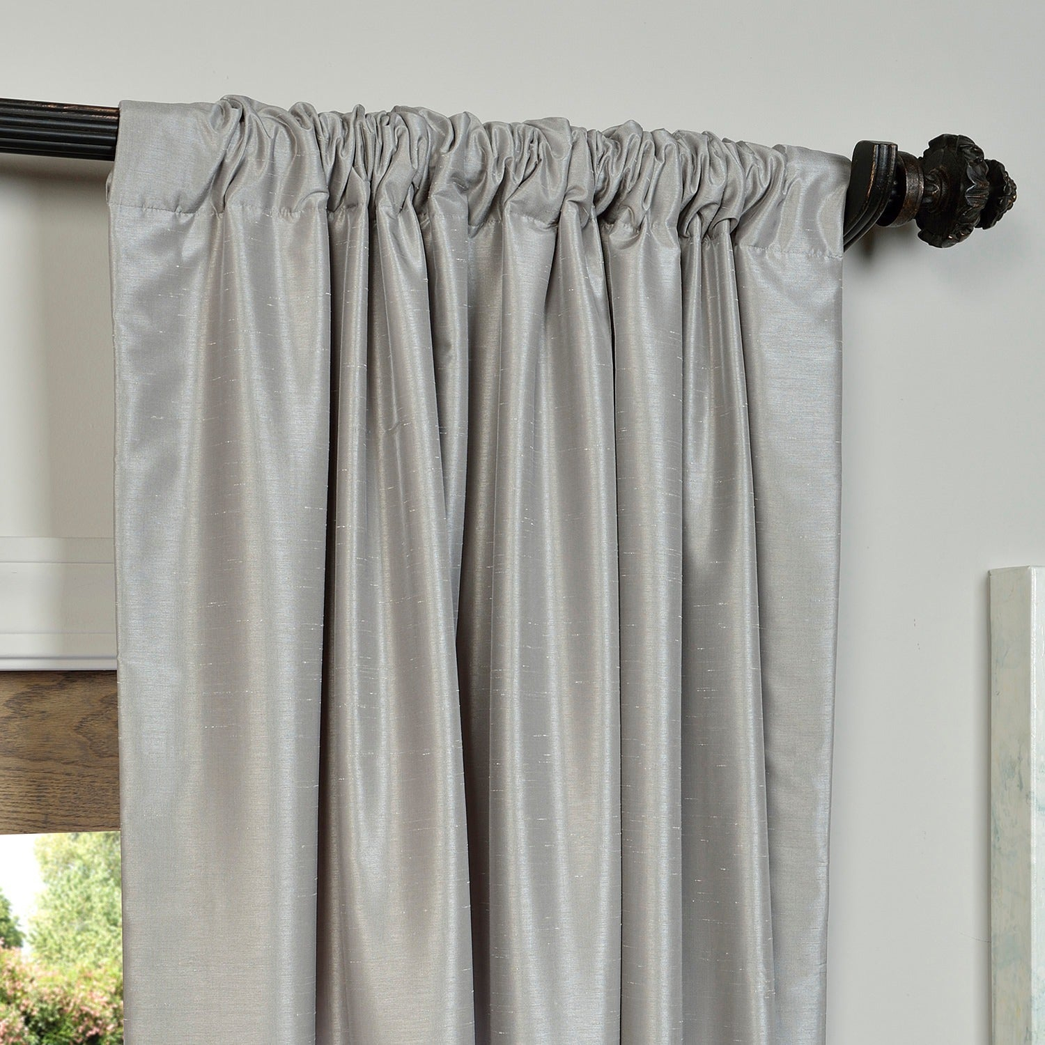 """Exclusive Fabrics Silver Vintage Faux Textured Dupioni Silk Curtain Panel 96"""" (As Is Item) With Regard To Silver Vintage Faux Textured Silk Curtain Panels (View 12 of 30)"""