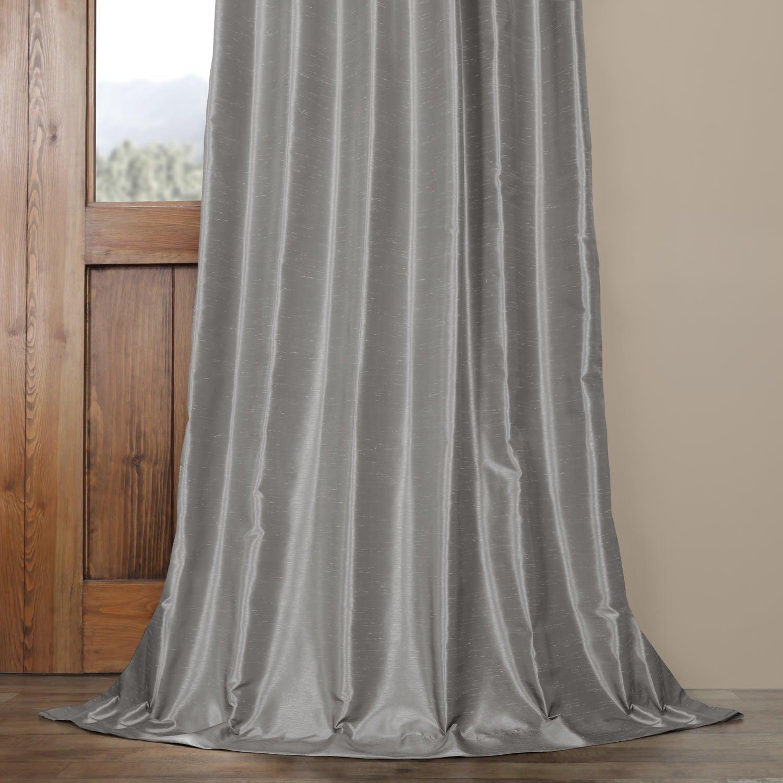 Exclusive Fabrics Silver Vintage Faux Textured Dupioni Silk Curtain Panel Regarding Silver Vintage Faux Textured Silk Curtain Panels (View 15 of 30)