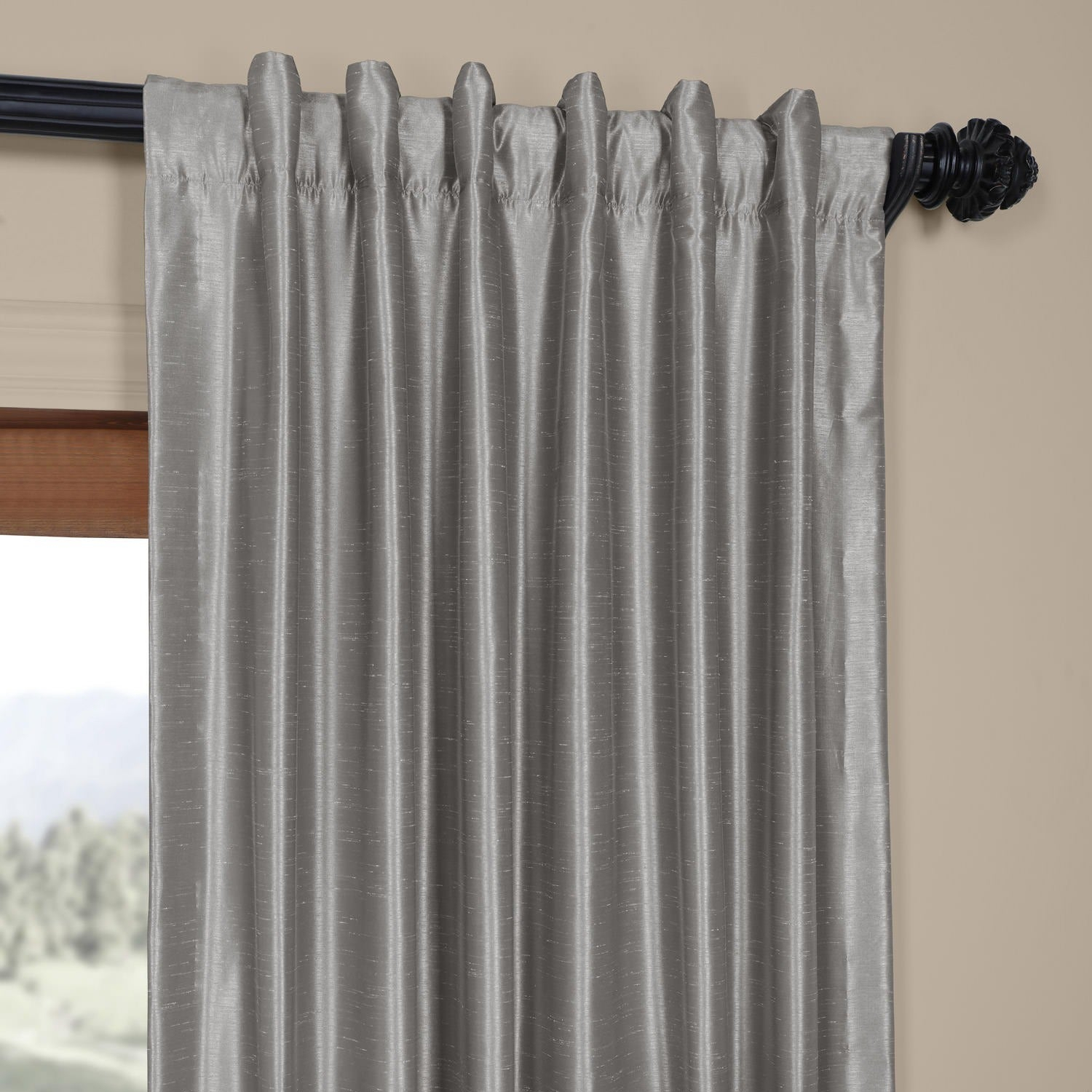Exclusive Fabrics Silver Vintage Faux Textured Dupioni Silk Curtain Panel With Silver Vintage Faux Textured Silk Curtain Panels (View 19 of 30)