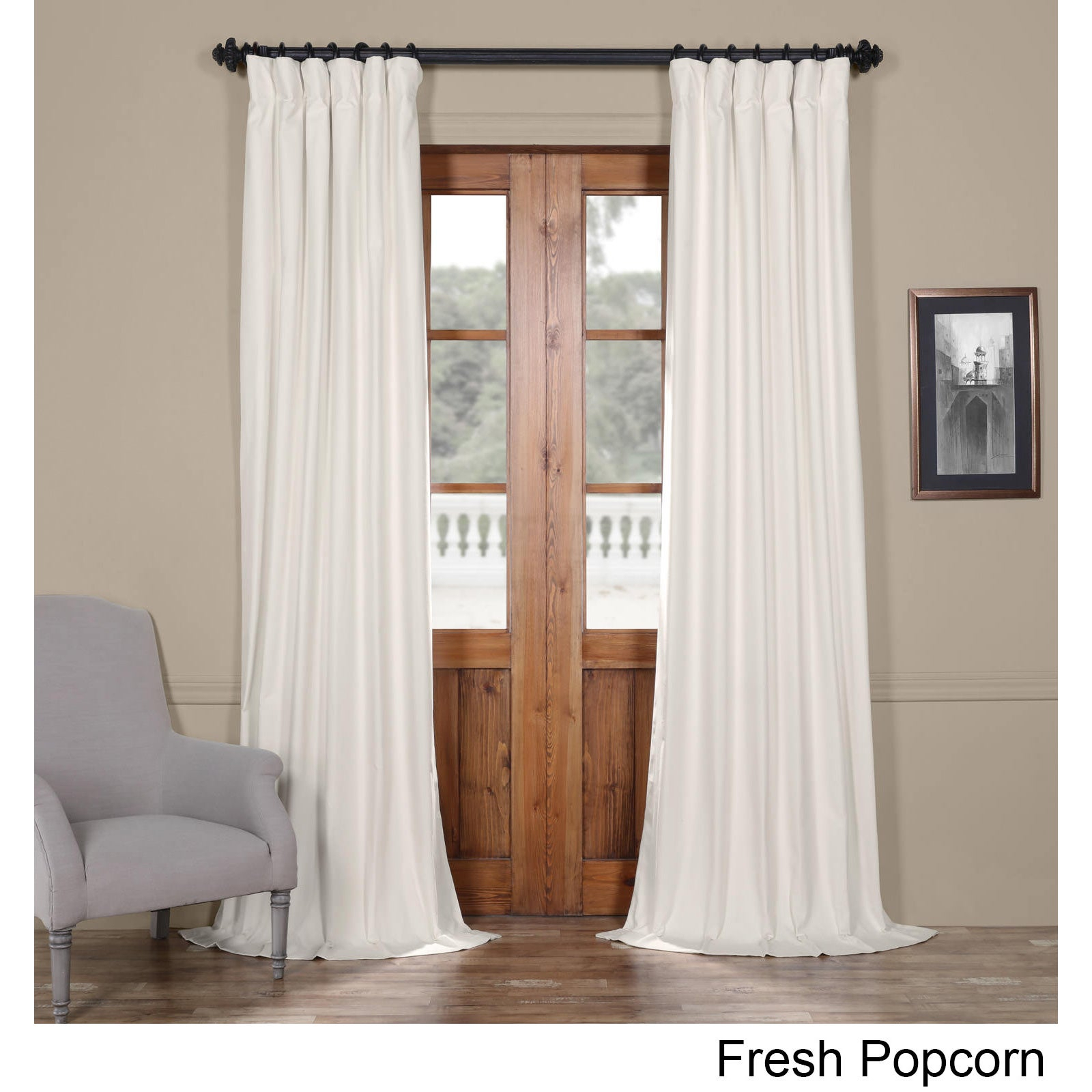"Exclusive Fabrics Solid Cotton Curtain Panel 120""l In Fresh Popcorn (As Is Item) Throughout Solid Cotton Curtain Panels (View 16 of 30)"