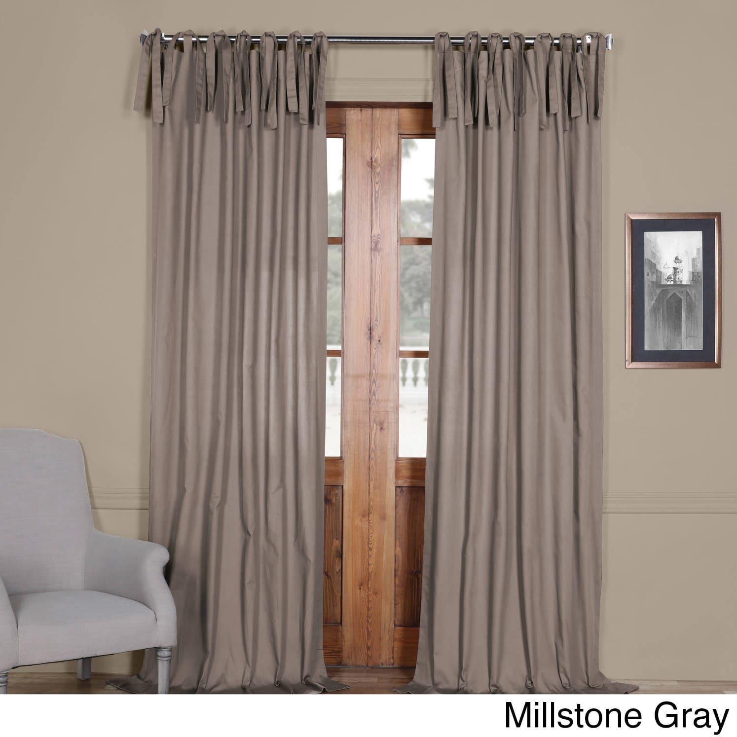 Exclusive Fabrics Solid Cotton Tie Top Curtain (Millstone Intended For Solid Cotton True Blackout Curtain Panels (View 14 of 30)