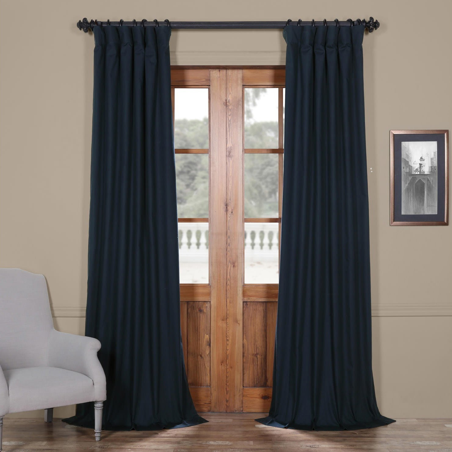 "Exclusive Fabrics Solid Cotton True Blackout Curtain Panel 108"" In Polo Navy (As Is Item) 